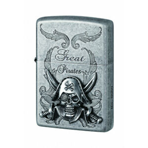 Zippo-Unisex-Pirate-Emblem-Brushed-Chrome-Lighter-Collectors-New