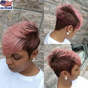 Ombre-Black-Pink-Short-Wavy-Style-Synthetic-Afro-Wigs-Hair-For-Women-With-Bang