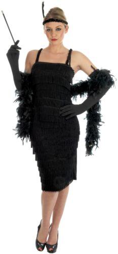 LADIES BLACK FLAPPER ROARING 20s 30s CHARLESTON FANCY DRESS COSTUME 1920s OUTFIT