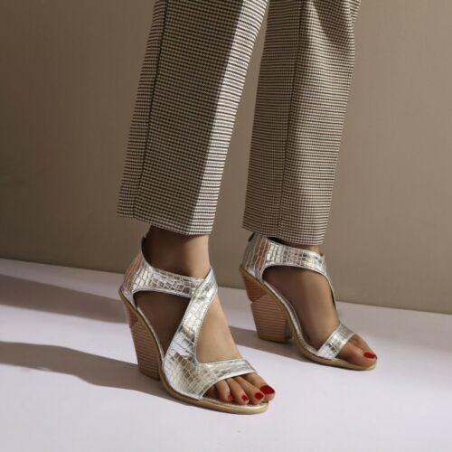 Size US 4-13 Womens Hollow Out Open Toe Shoes Block Heels Back Zip Roman Sandals