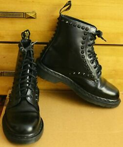 DR. MARTENS Black Leather Spike 8 Eye