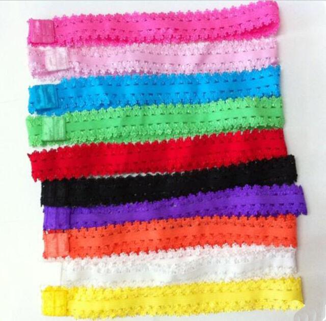 10x Kids Baby Girls Headband Crochet Lace Hairband Headwear Elastic Hair Band RA