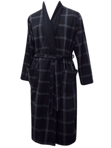 Mens Soft Lightweight Famous Make Fleece Dressing Gown. Black Check ...