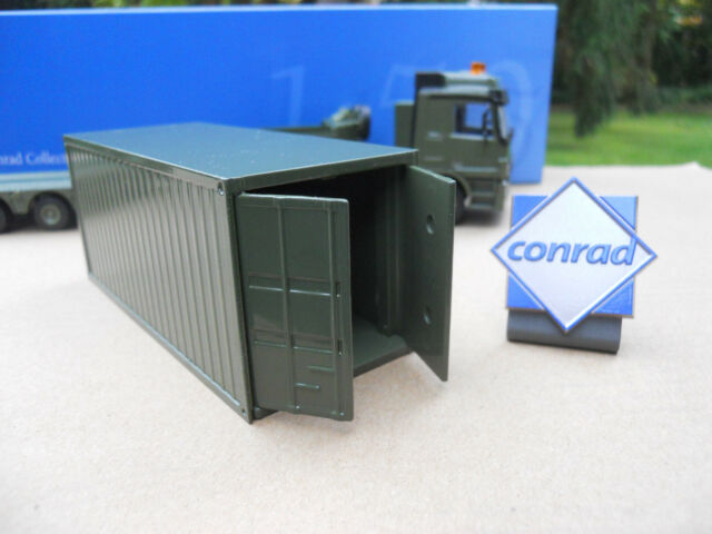VEHICULE MILITAIRE CONRAD 1/50 CONTAINER 20 PIEDS PORTES OUVRANTES OLIVE DRAB MB
