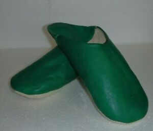 VERY-SOFT-100-LEATHER-SLIPPERS-MULES-GREEN-ALL-SIZES
