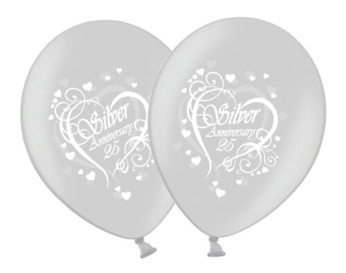 """Happy Silver 25th Anniversary Printed 12/"""" White Silver Latex Balloons 1-100ct UK"""