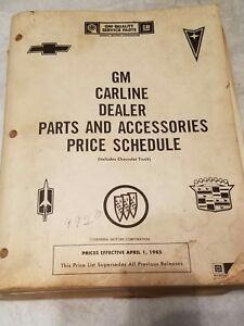 GM Dealer Parts & Accessories price schedule Chevy Buick ...