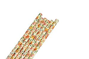 """Eco-Friendly 7.75"""" FLORAL Print Design Paper Straws Choose Package Amount"""