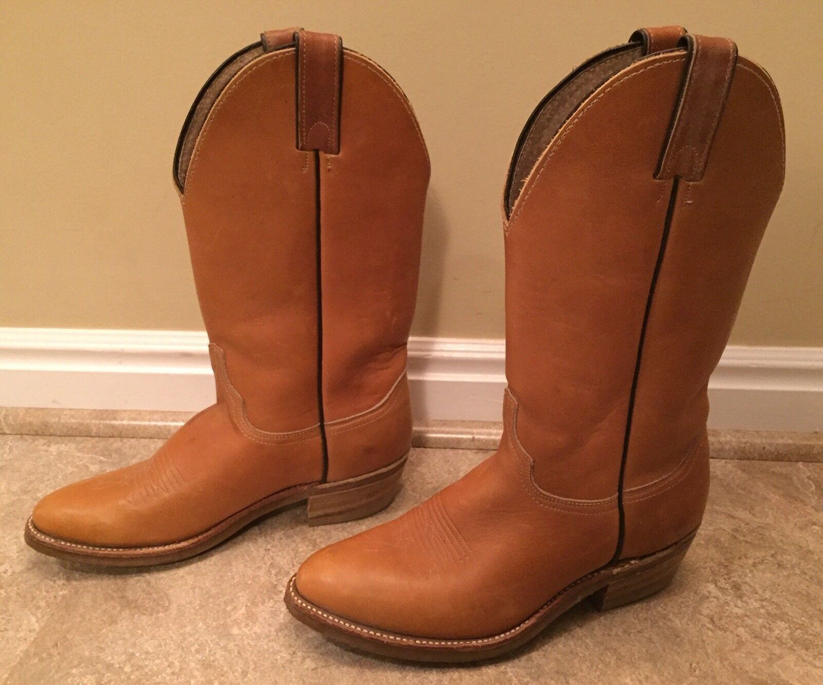Womens ABILENE Brown Leather Pointy Toe Plain Shaft Cowboy Western USA Boot 7M