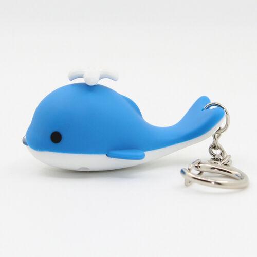 Lovely baleine Lumières DEL Keychain avec Sound Nouveauté Voiture Porte-clés enfants jouet cadeau