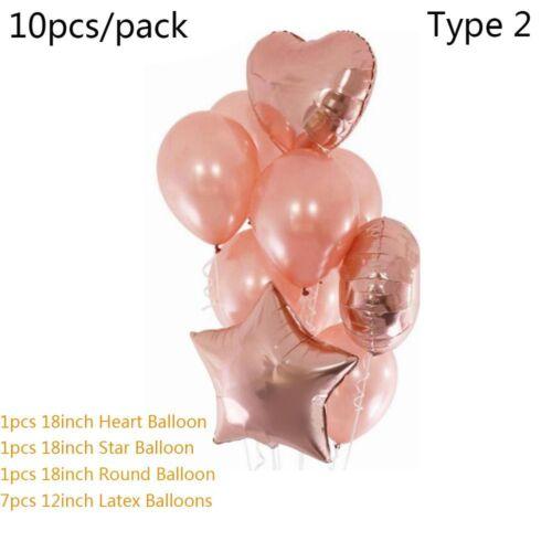 Rose Gold Series Foil Latex Balloon Star /& Heart Birthday Wedding Party Decor
