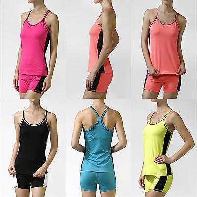 Women Sleeveless Yoga Fitness Spaghetti Strap Cami Workout Sports Tank Top Shirt