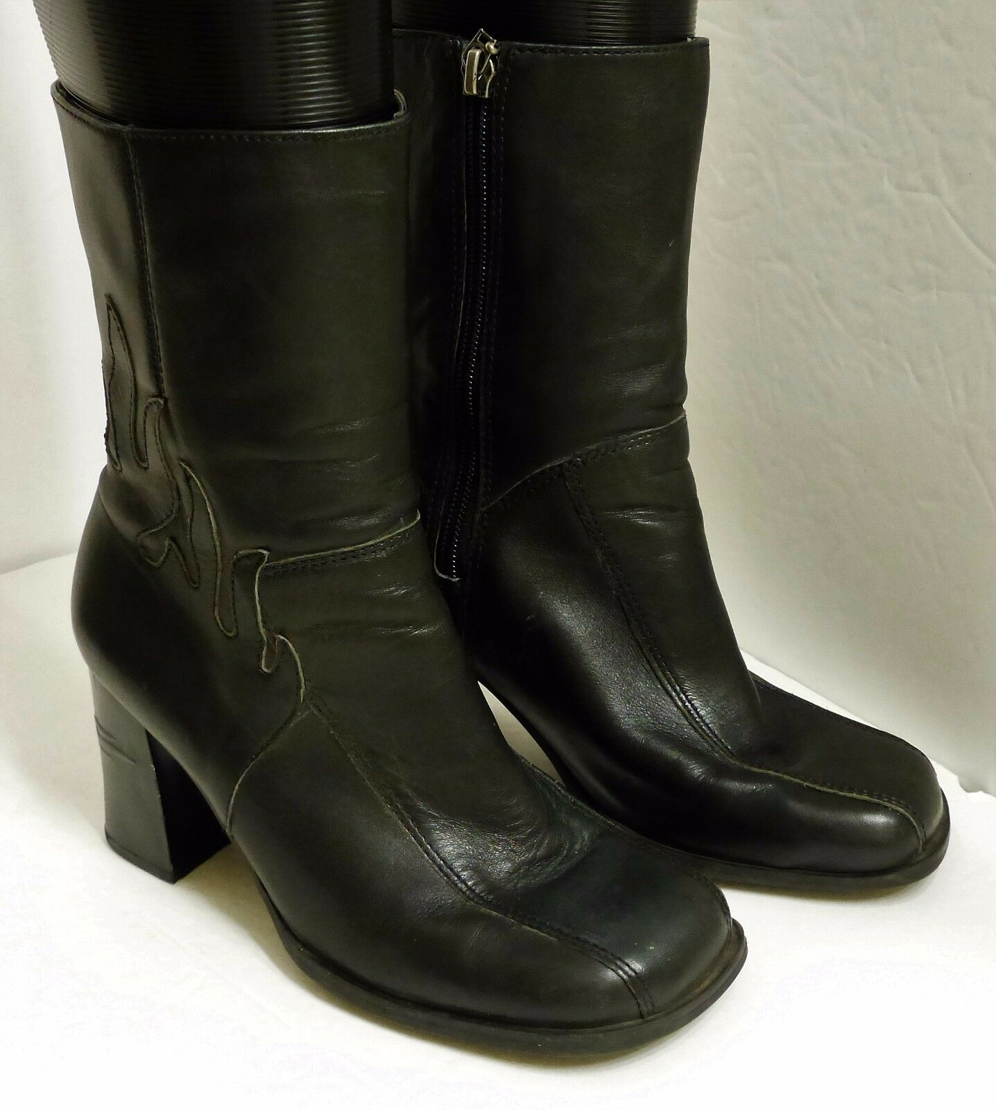 VGUC Harley-Davidson Women's Size 6 Black Leather Square Toe Motorcycle Boots