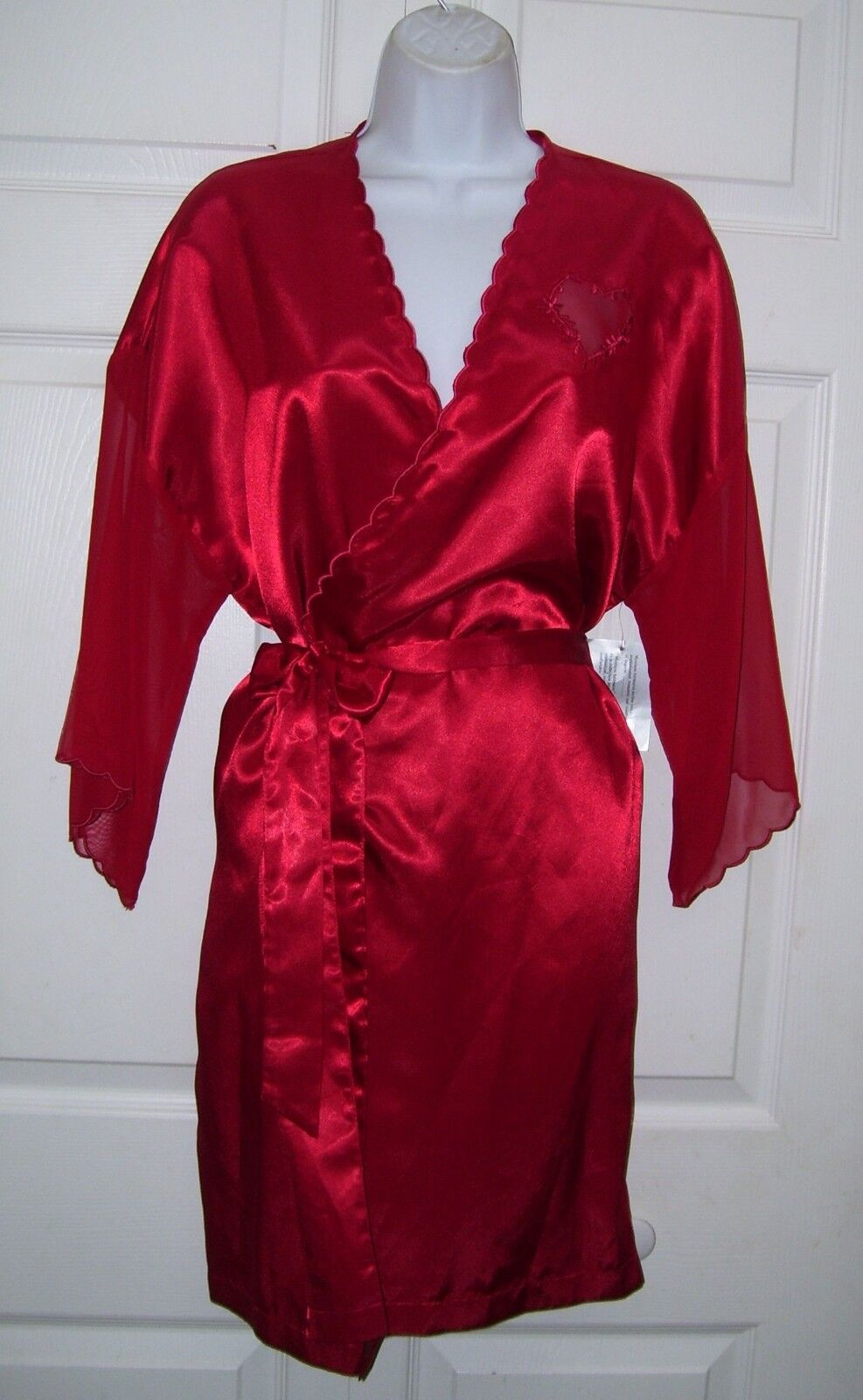 Women's One Size Red  Robe Wrap Around Heart Decal & Semi Sheer Sleeves Sale