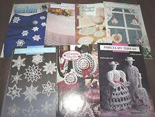 Lot of 7 Annie's Attic Crochet Patterns Porcelain Thread Snowflakes Banquet...