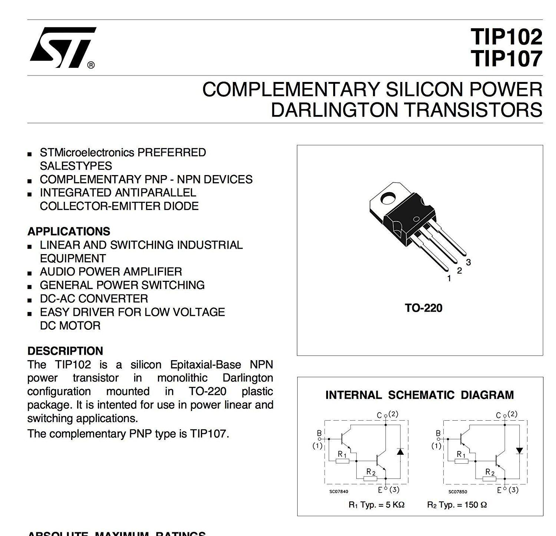 STMicroelectronics TIP102 Darlington Transistor NPN 100v To-220