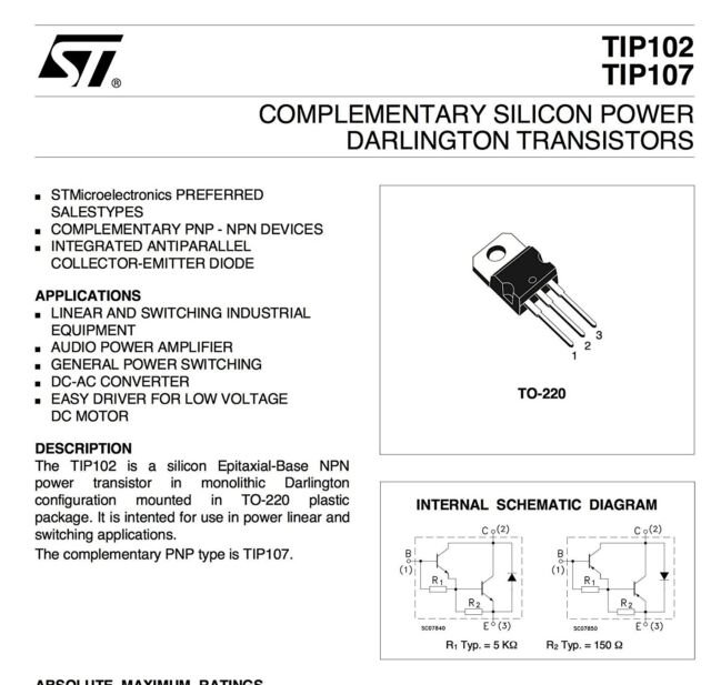 Lot of 5 TIP102G ON Semi NPN BJT Transistor Darlington 100V 8A 2W TO-220-3 NOS
