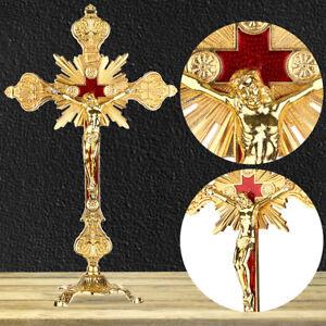 10-034-Jesus-Antique-Gold-Cross-INRI-Catholic-Altar-Standing-Religious-Crucifix