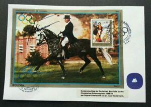 [SJ] Bolivia Summer Olympics 1988 Seoul Josef Neckermann Dressur 1987 Horse (FDC