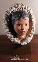 Large Cybis Porcelain Eskimo Inuit Child Bust Figurine Snow Bunting