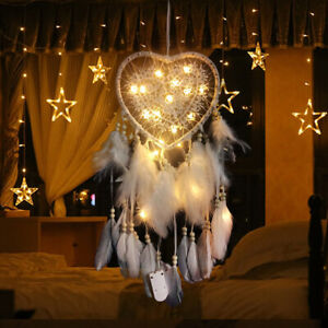 Heart-Shape-Feather-Pendant-LED-String-Light-Dream-Catcher-Home-Hanging-Decor
