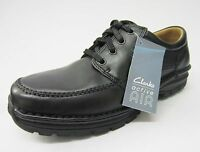 Clarks 'sidmouth Mile' Men's Black Leather Textile Lace Up Casual Shoes. H Fit