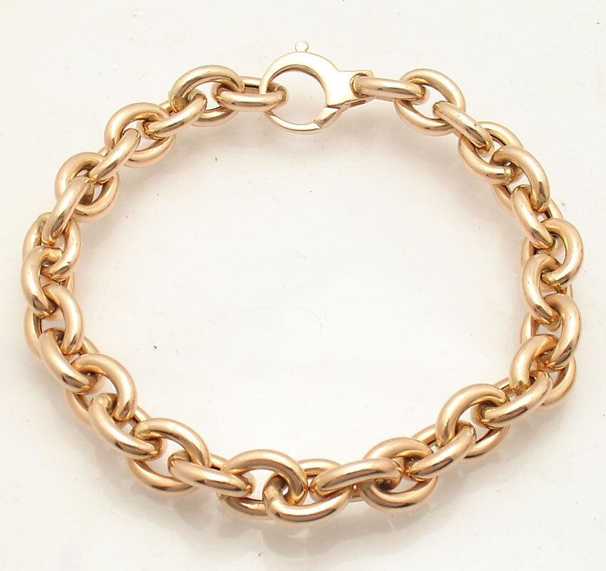 High Polished 8.25mm Oval Rolo Link Charm Bracelet  Real 14K pink Pink gold QVC