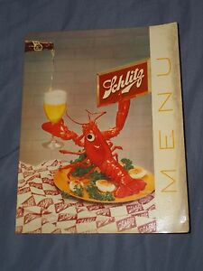 VINTAGE-1955-SCHLITZ-BEER-LOBSTER-MENU-COVER