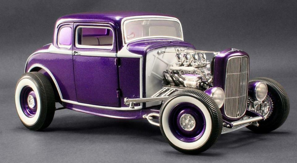 ACME 1:18 1932 Ford Five Window Diecast Model Car viola A1805009