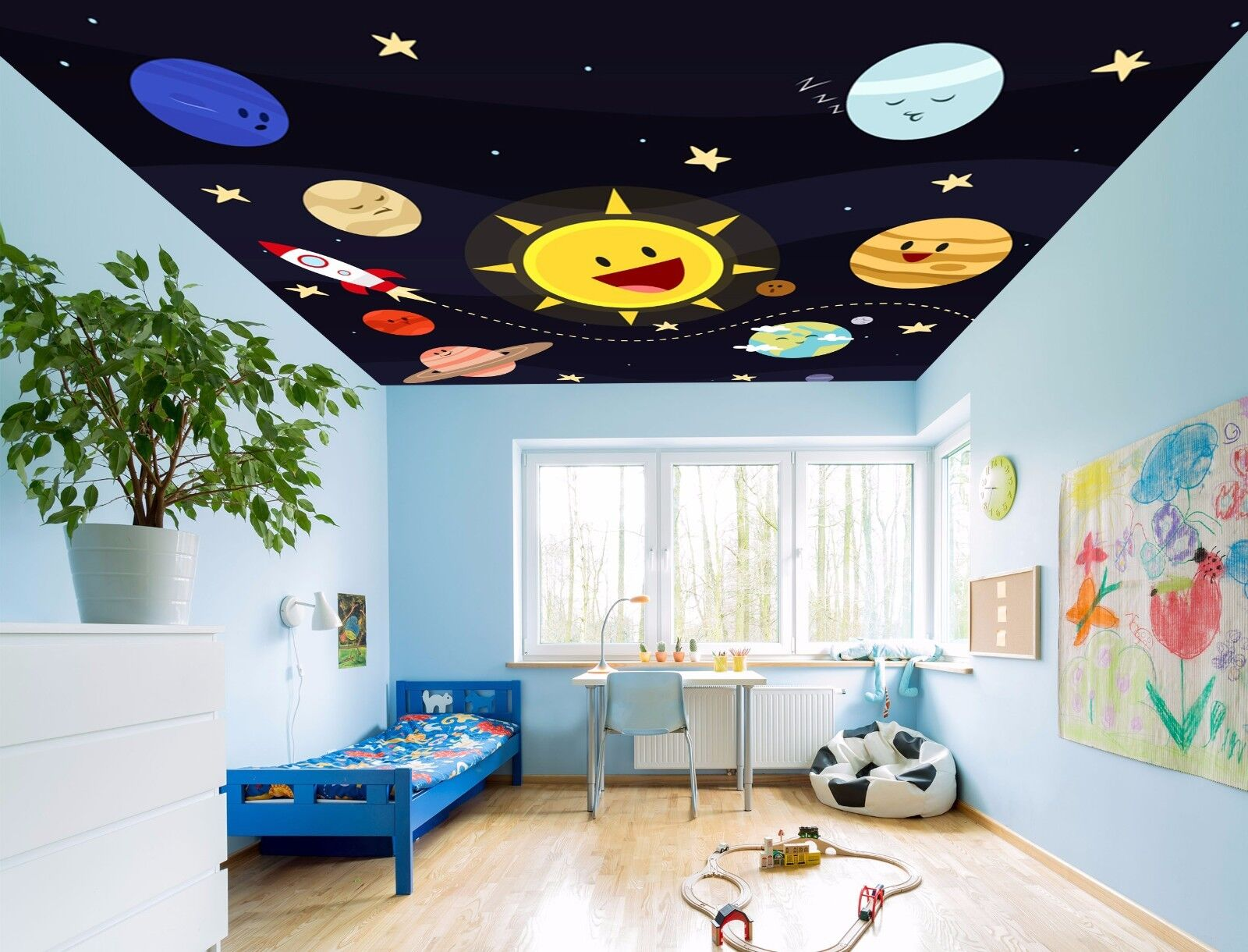 3D Cute Sun 754 Ceiling WallPaper Murals Wall Print Decal Deco AJ WALLPAPER GB