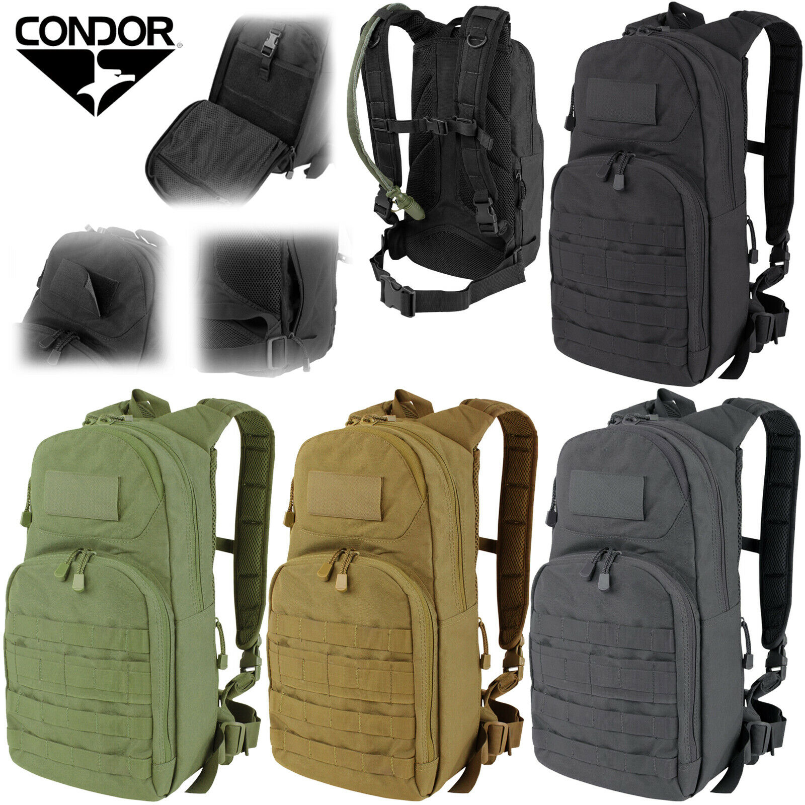 Condor Tactical MOLLE PALS Mesh Padded Fuel Hydration Carrier Backpack Pack 165