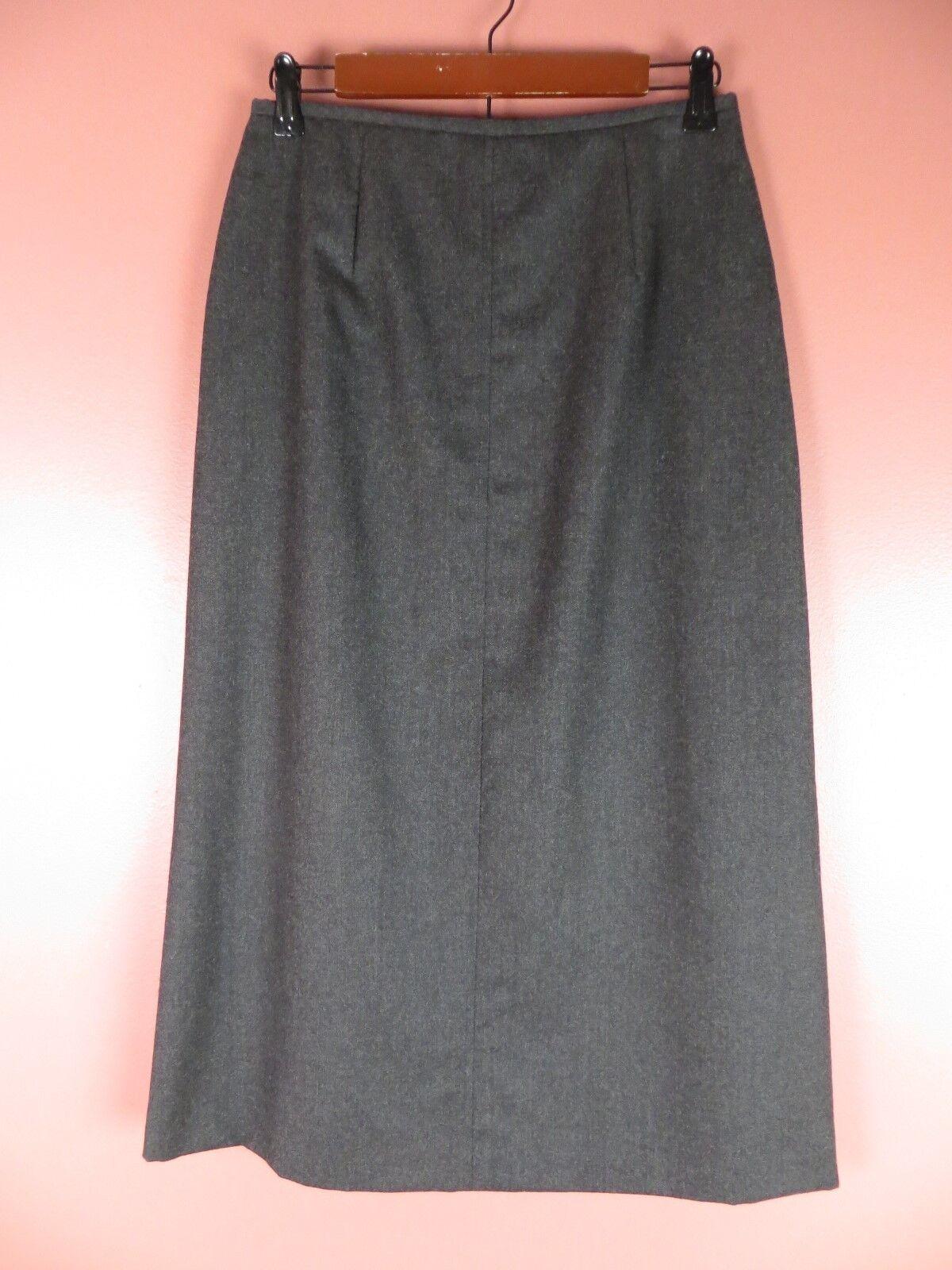SK10539- TALBOTS Woman 100% Seasonless Wool Pencil Skirt Dark Charcoal Sz 8P