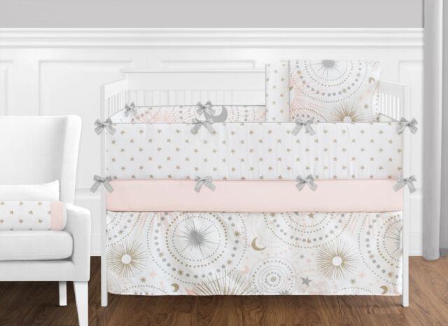 sweet jojo pink gold celestial moon star girls baby bedding ruffle 9p crib set - Baby Bedding For Girls