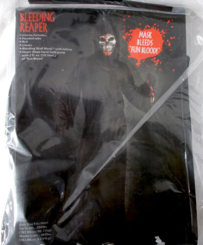 Fun World Black Gray Bleeding Reaper Costume Robe OSFM NIP