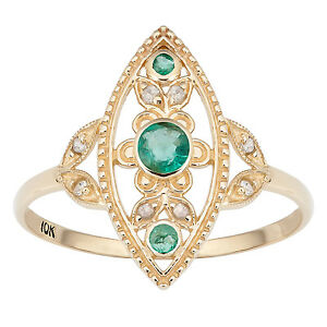10k-Yellow-Gold-Vintage-Style-Genuine-Round-Emerald-and-Diamond-Ring