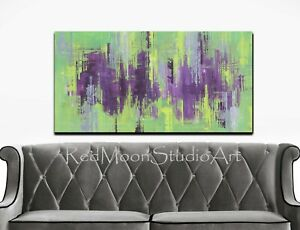 48x24-Abstract-Art-Painting-Green-Purple-Gray-US-Artist