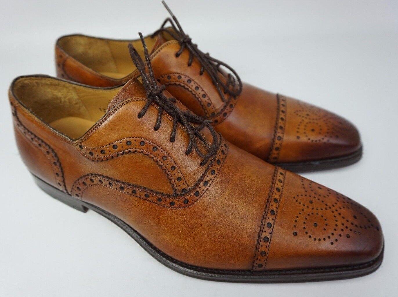 Magnanni Santiago Cap Toe Oxford Shoes Cognac Brown Shoes Oxford Size 8.5 M $325 d509b5