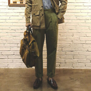 British-Vintage-Gurkha-Pants-Men-039-s-Casual-Pleated-Military-Trousers-Overalls