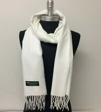 100/% CASHMERE WHITE SCARF WINTER WRAP SHAWL VERY SOFT  MADE IN SCOTLAND S#5
