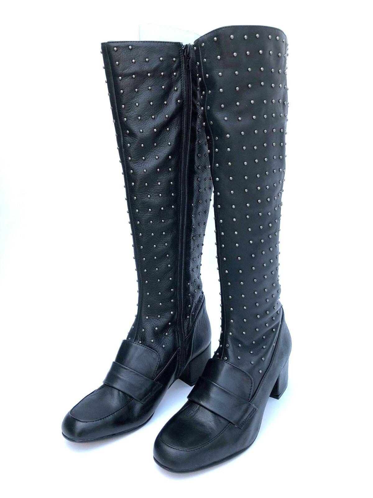 Topshop negro Cuir Clouté botas à Hauteur Hauteur Hauteur Du Genou Talla UK 3 UK 6  buen precio