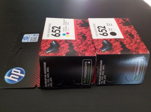 HP 652 Original Black F6V24AE Color Genuine Ink Advantage Cartridges F6V25AE
