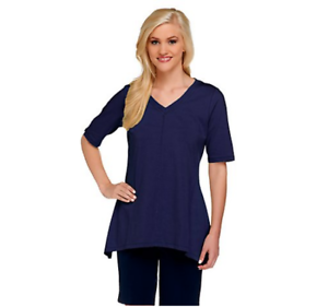 Denim-amp-Co-Perfect-Jersey-V-neck-Trapeze-Hem-Top-Bright-Navy-Small-A254299