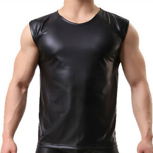 927aa96e Men's Leather T-shirt Gay Undershirt Sleeveless Tank Vest Muscle ...