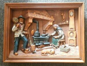 Vintage-Resin-Bas-Relief-Diorama-Farmhouse-Scene-by-C-A-Morand-Signed-French