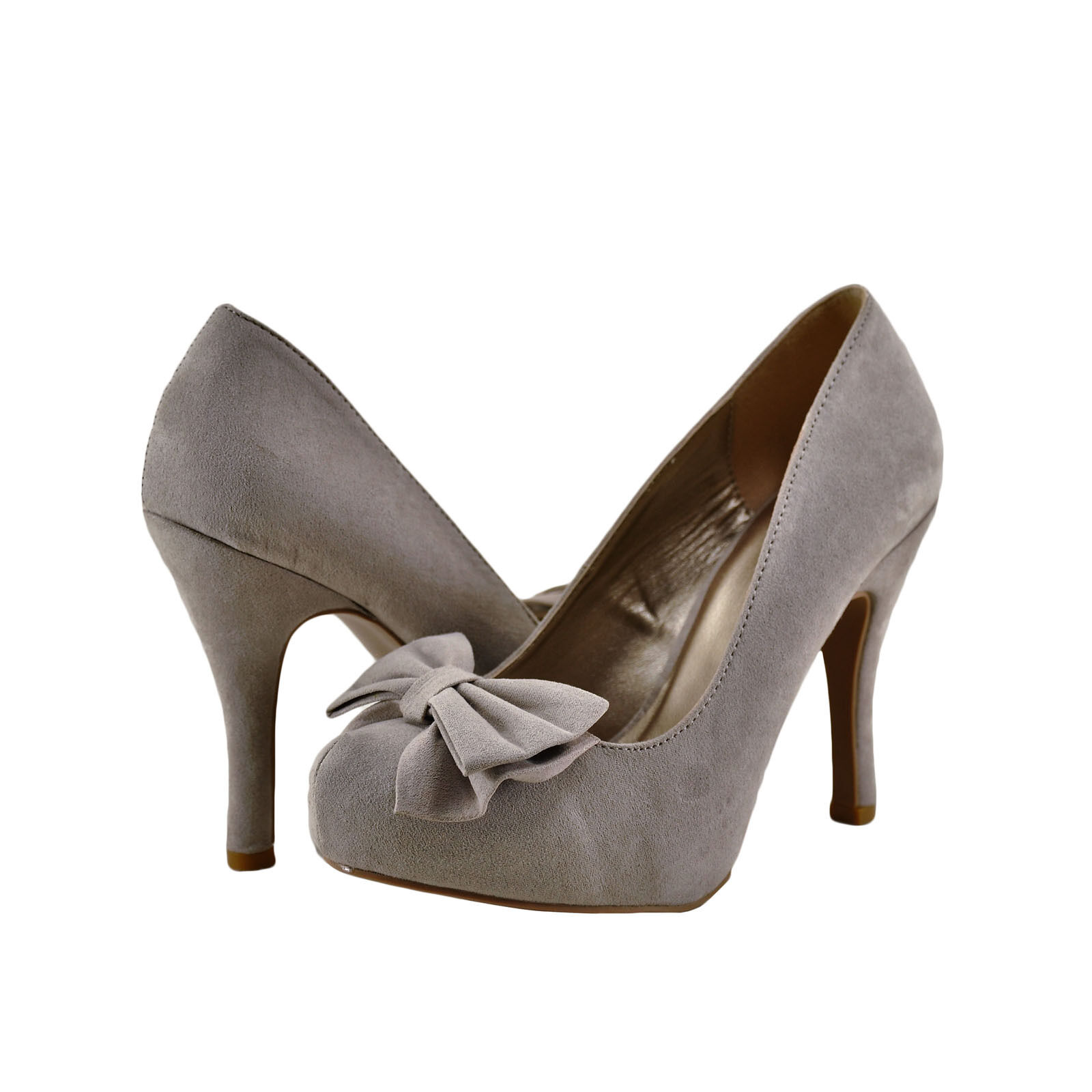 Womens shoes Qupid Trench 256x Closed Toe Bow Embellished Pump Taupe New