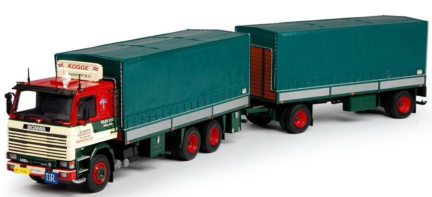 TEK68493 - Camion SCANIA 142 porteur bâché et remorque aux Colorees Kogge Transp