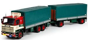 Tek68493 - Camion Scania 142 Porteur Bâché Et Remorque Aux Couleurs Kogge Transp