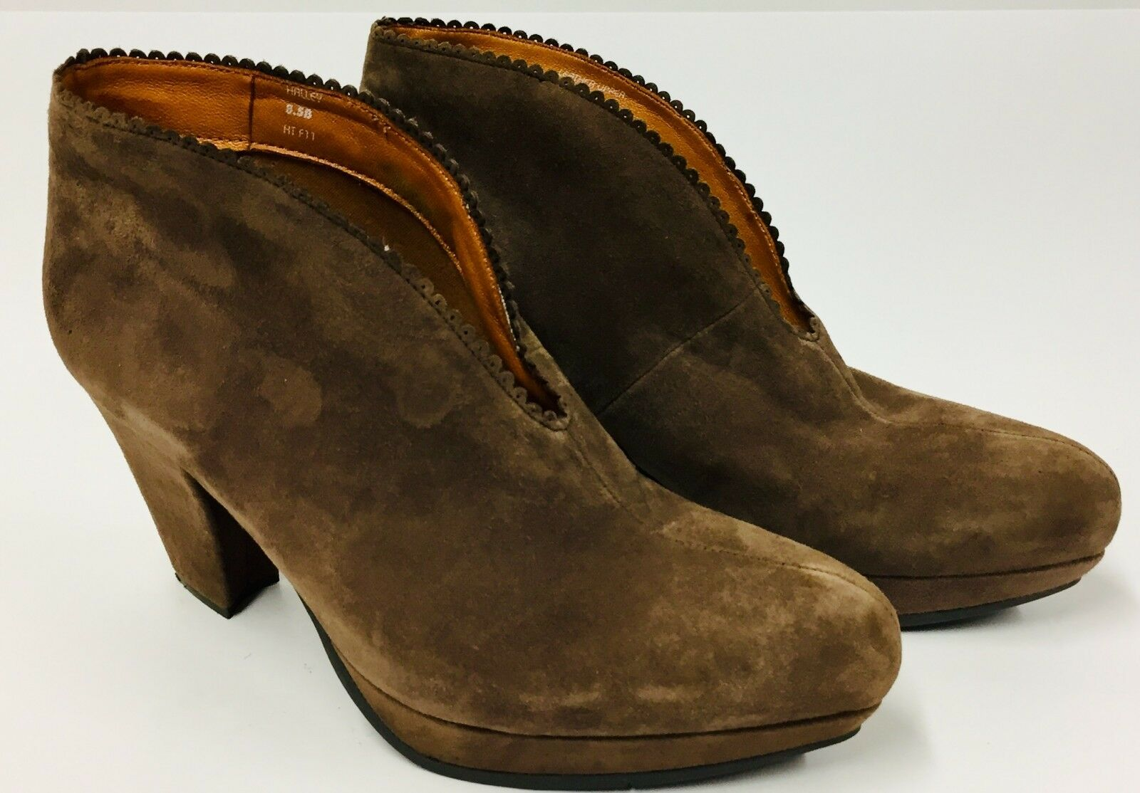 Earthies Womens Dark Taupe Brown 8.5B Halley Leather Ankle Boots Booties Heels