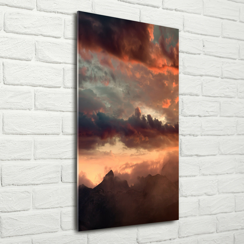 Wandbild Druck auf Plexiglas® Acryl Hochformat 70x140 Sonnenuntergang Berge