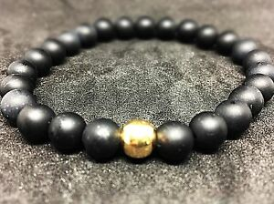 Onyx-matt-925er-sterling-Silber-vergoldet-Armband-Bracelet-Perlenarmband-8mm